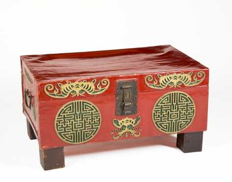 Chinese Red Lacquer Pigskin Trunk