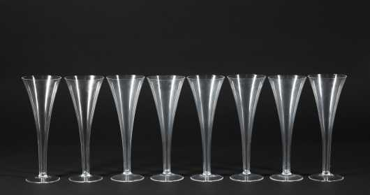 "Set of Eight ""Tiffany"" Champagne Flutes"