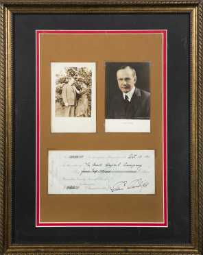 Calvin Coolidge, Signed Check