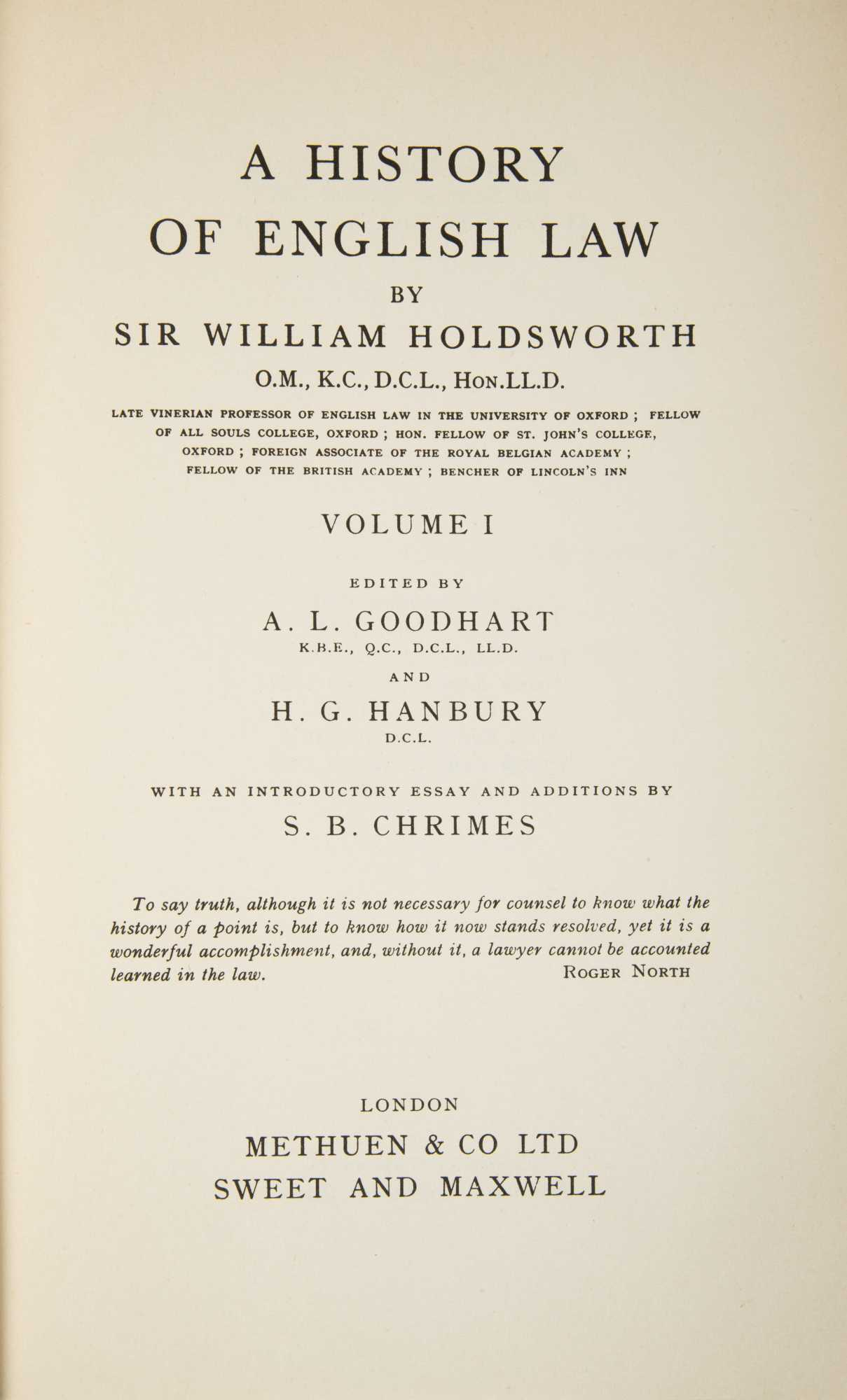 William Holdsworth A History Of English Law