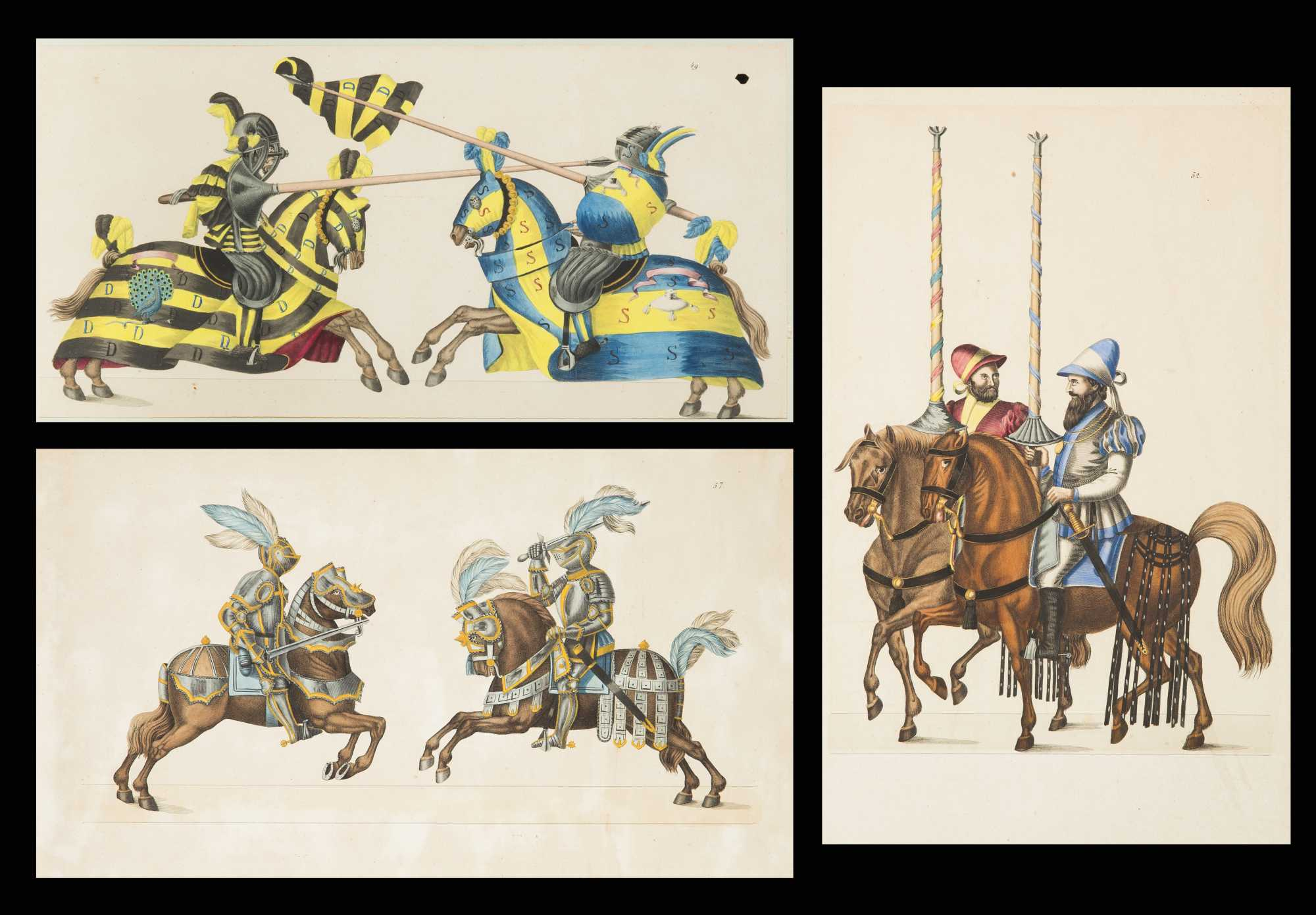 Hand Colored Engravings Knights