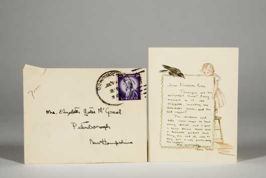 Tasha Tudor Illustrated Birthday Card and Note to Elizabeth Yates, 1950's