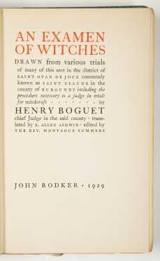 Witchcraft & Demonology; John Rodker