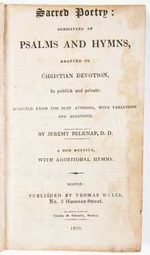 Three Bibles and Belknap's 1820 'Sacred Poetry'