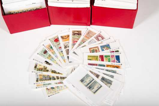 Stamp Dealers Stock in Three Red Boxes