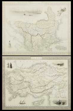 Two hand colored maps of Turkey, 1850's