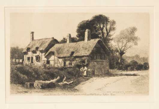 Wilfred Ball Etchings, 'Anne Hathaway's Cottage' and 'Westminster'.