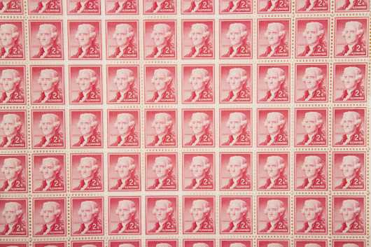 Mint Sheet US 2c Jefferson, one full sheet mint never hindged with 3 plate blocks of same