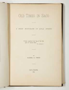 Old Times in Saco, Owen 1891