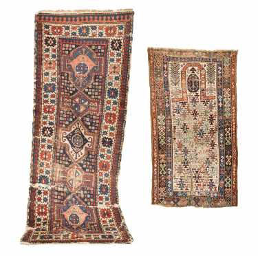 Antique Shirvan Prayer and Caucasian Runner Oriental Rugs