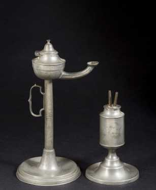 Two Antique Pieces of Pewter Lighting