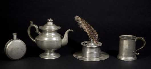 Miscellaneous Lot of Four Pewter Pieces