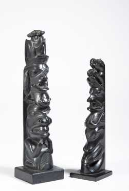 Two Haida Carved Argillite Model Totem Poles