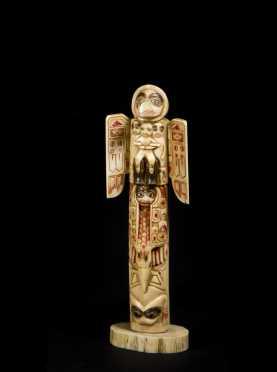 """""""Raven Flood Totem"""" Carved Walrus Tusk"""