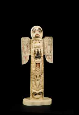 Carved Raven Walrus Tusk Model Totem Pole