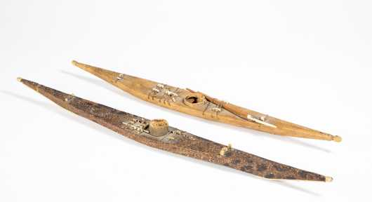 Two Inuit Made Model Kayaks