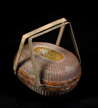Japanese Meiji Period Mixed Metal Basket