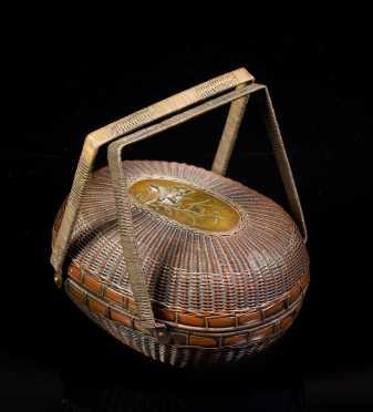 Japanese Meiji Period Mixed Metal Basket