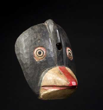 Carved and Painted Pine Bird Mask
