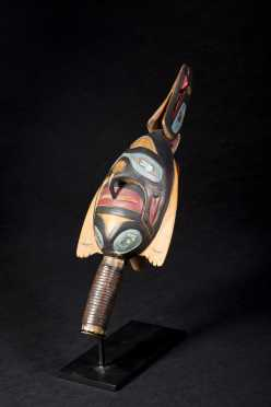 Northwest Coast Style Carved and Painted Ceremonial Rattle