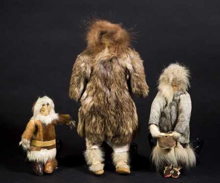 Three Inuit Made Fur Dolls