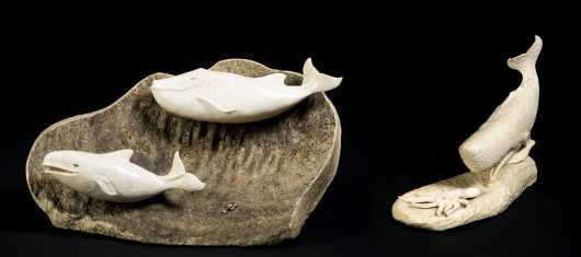 Two Carved Bone Whale Displays