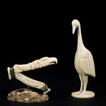 Two Carved Walrus Tusk Figures