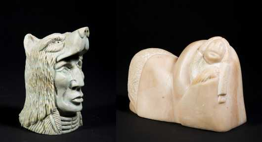 Two Carved Stone Native American Figures - AVAILABLE FOR $150