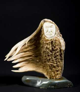 Inuit Carving Set into Caribou Antler