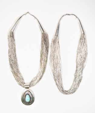 Two Liquid Silver Native American Necklaces