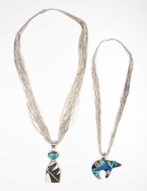 Two Liquid Silver Native American Necklaces with Pendants