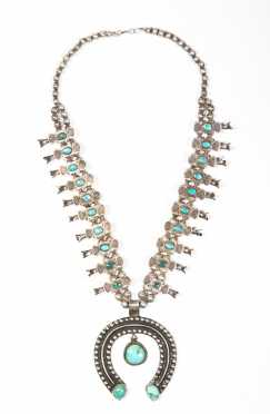 Native American Squash Blossom Necklace in Sterling Silver and Turquoise