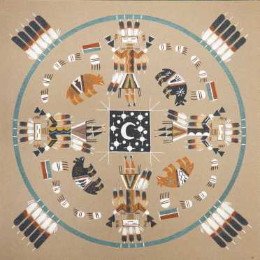 Navajo Sand Painting by Ernest and Wayne Hunt