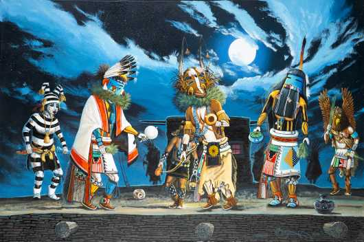 """Mixed Kachina Dancers"" Painting"