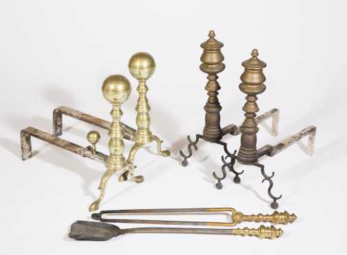 Two Pair of Federal Brass Andirons and Similar Fire Tools