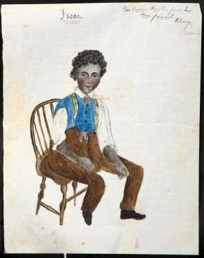 Primitive Water Color Painting of a Seated Black Boy