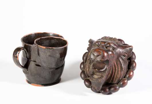 NH Redware Mustache Cup and Carved Lion Head
