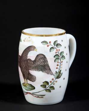 """Liberty"" Eagle Decorate Bristol Glass Handled Mug"