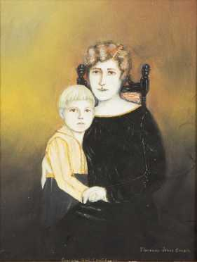 Florence Jones Cousin, American (1893-1961) Primitive Painting of Mother and Son - AVAILABLE FOR $100