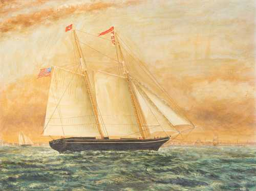 """Polly Lewis, Boston"" Ship Painting"