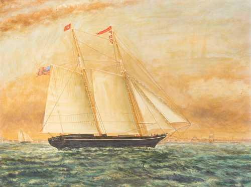 """Polly Lewis, Boston"" Ship Painting"
