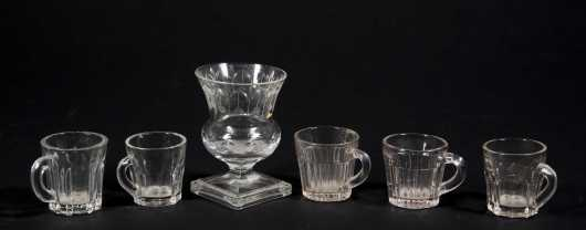 Lot of Five Blown Clear Glass Miniature Mugs