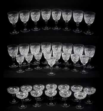 Lot of 29 Webb, England Cut Glass Wine and Dessert Glasses- AVAILABLE FOR $200