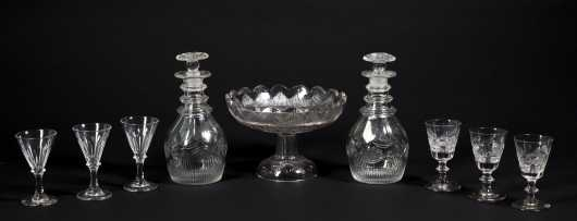 Pair of Cut Blown Decanters