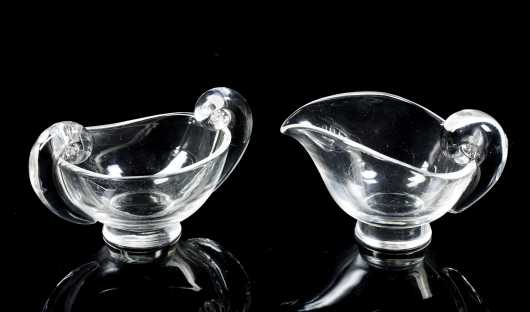 """Steuben Glass"" Creamer and Sugar"