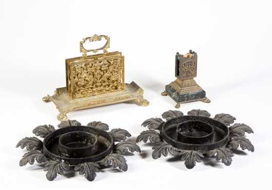 Three Mixed Metal Desk Items