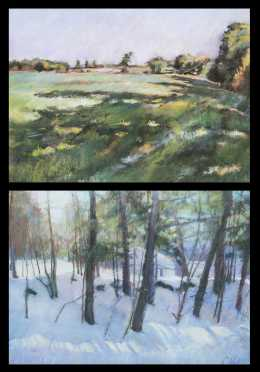 Chris Reid, Jaffrey Center, NH Pair of Paintings