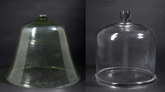 Two Early Blown Glass Food Domes