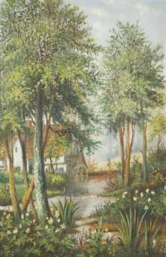 English Cottage Oil Painting