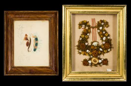 Primitive Color Pencil Drawing and Victorian Mourning Shadowbox- AVAILABLE FOR $100